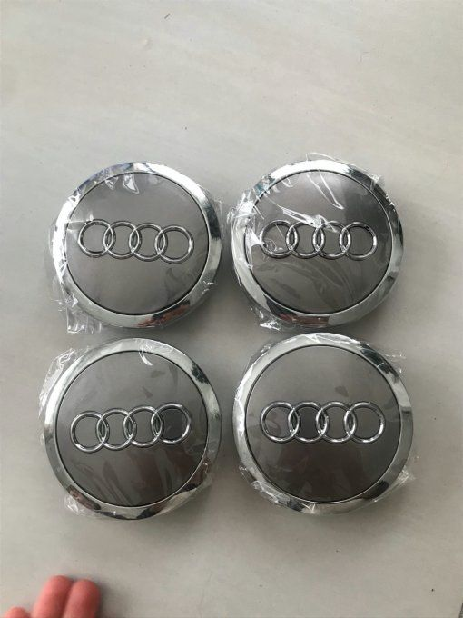 4 caches roues AUDI 69 mm gris